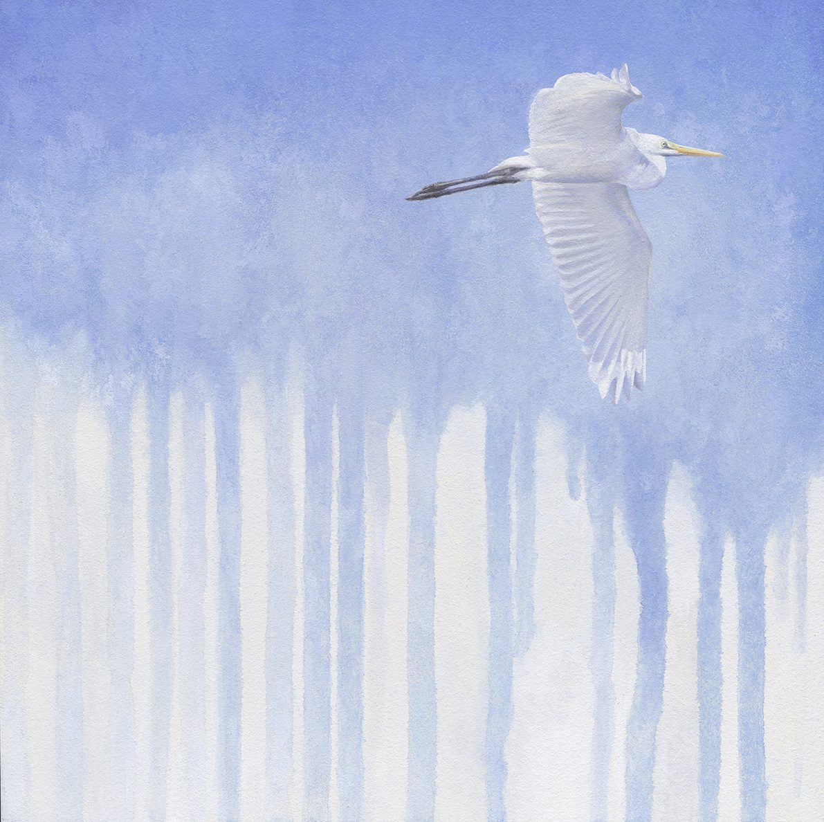 great egret, casein on panel, Kelly Leahy radding