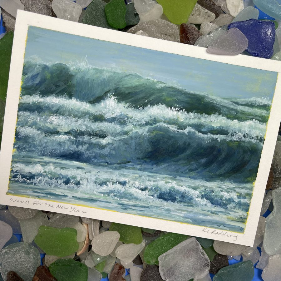 gouache painting of waves photographed against sea glass.
